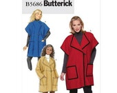 Sew & Make Butterick B5686 Sewing Pattern - Womens Oversized Fleece Jackets sz 4-14