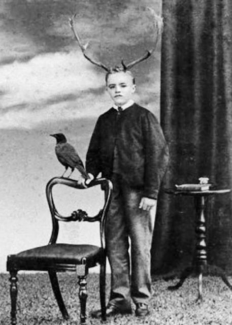 Antler boy with raven antlers strange weird vintage scene for Odd victorian names