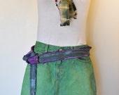 Green Sz 10 Denim Jean SKIRT  - Rustic Vintage Upcycled Kelly Green Gap Denim Mini Skirt -  Adult Womens Size 10 (32 Waist)