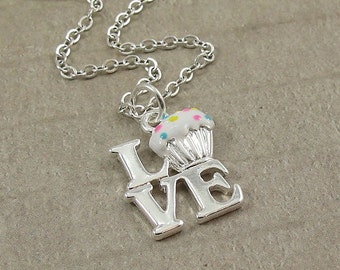 Love Vanilla Cupcakes, Silver Plated Love Cupcakes Charm on a Silver Cable Chain