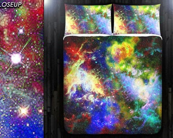 Mosaic Nebula Rainbow Space Galaxy Bedding Duvet Cover Queen Size King Twin Blanket Sheet Full Double Comforter Toddler Daybed Kid Teen Dorm