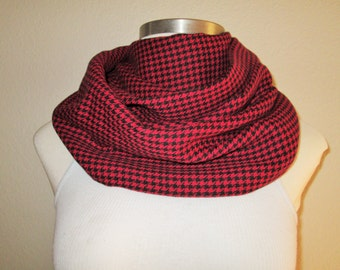 Black and Red Flannel Infinity Scarf SALE 50% OFF!