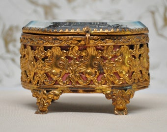 Antique French Jewelry Casket Brass Ormolu Souvenir of Mont St Michel France