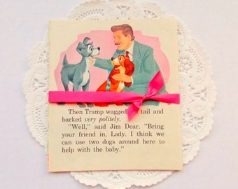 Vintage Children's Book Pages  / Lady & The Tramp