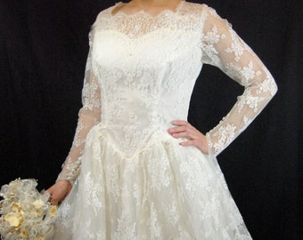 1950s All Lace Wedding Gown - 50s Wedding Gown - Lace Wedding Gown