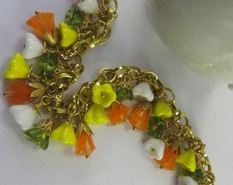 Flower Charm Bracelet Yellow Orange Green White Boho Free Shipping