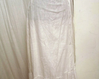 Vintage 1890 Victorian White Cotton Eyelet Embroidered Petticoat Skirt SM