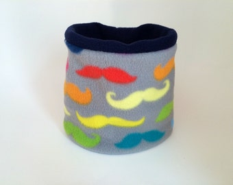 Fleece Neck Warmer / Neck Gaiter / Cowl Scarf / Neck Warmer. Mustaches Navy.  Kids or Adult sizes available