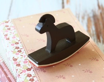 BROWN Rocking Horse fancy LACE border rubber stamp