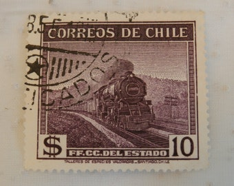 1940s Chile Stamp Featuring a Train, 10 Pesos