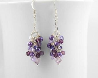 Purple Crystal Cluster Earrings with Swarovski Crystal Elements