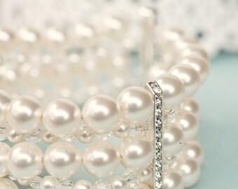 Chunky Bridal Cuff Bracelet, Bridal Bracelet, Ivory Pearl Cuff Bracelet