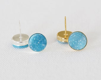 Sparkling Aqua Blue Natural Druzy Stud Earrings - druzy quartz, gemstone studs, post, bridesmaid gift, under 40, small, glitter, jewel, blue