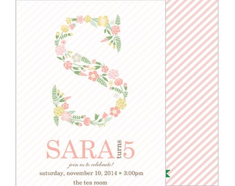 Pastel Chic Floral Initial Girl's Birthday Party Invitation | Set of 20 Double-Sided Invitations