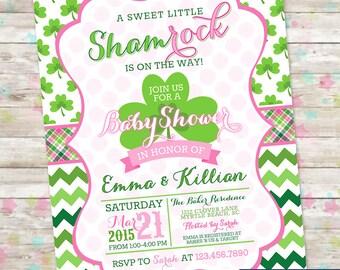 Little Shamrock Baby Shower, Shamrock Baby Shower Idea, Invitation Baby Shower Girl, Clover and Chevron, Pink and Green, Printable DIY