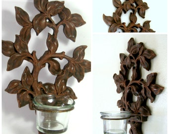Wall Sconce, Faux Wood Wall Sconce, Vintage Wall Sconce Votive Holder, Syroco Faux Wood Votive Wall Hanging, Leaves Twigs Wall Sconce