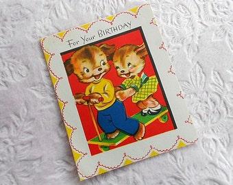 Vintage BOY GIRL Bear Happy Birthday CARD Greeting 50s Child Children Paper Ephemera Skateboard Red Blue Yellow Dress Scallop Border Graphic