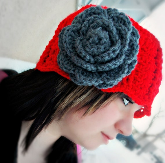 Crocheted Cloche Hat - Red Hot, Grey, Rose, Boutique, Flower Brooch, Handmade, Stylish