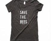 Bees Shirt - Womens Scoop Neck - Save the Bees Shirt - Black and White - Honeycomb - Organic shirt - S M L XL- Clothing -Tshirt - bug
