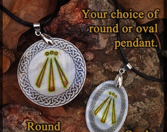 Awen Druid Amulet, Mother of Pearl By Mickie Mueller
