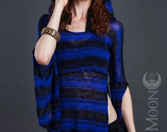 SALE The Hooded Tunic Top in Black and Blue Stripes Sweater Knit by Opal Moon Designs (Size S-XL)