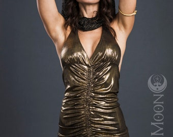 FINAL SALE: The Queen Cleopatra Gathered Goddess Halter Top in Metallic Gold (M or XL)