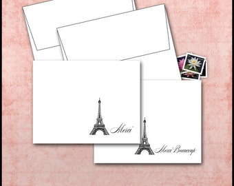 Eiffel Tower Note Cards / Set of 10 / Merci, Merci Beaucoup / Paris France / French Thank You / Blank Folded / Classic Black & White