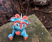 Polymer Clay Dragon 'FrostFire' - Limited Edition Handmade Collectible