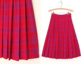 Vintage Plaid Skirt * Pleated Pendleton Skirt * Tartan Wool Skirt * Medium