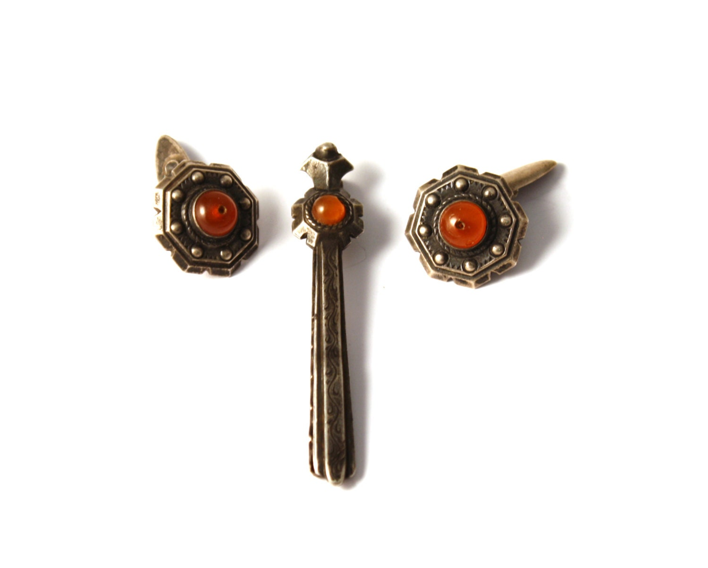 Beaucoup de vintage silver 875 cravate bar p e et les boutons - Mettre bouton de manchette ...