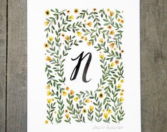 Monogram Letter N floral art print