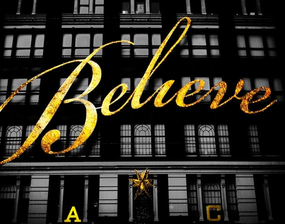 Macy's Believe, New York Print, Black, Gold, Christmas, Macys New York, New York Photography Large Wall Art