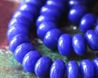 8x5mm Smooth Rondelle - Dyed Jade Beads - Jewelry Making Supply - (20 pieces) Dark Blue