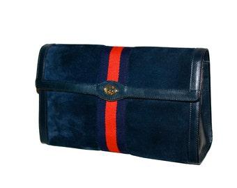 GUCCI Vintage Blue Suede Large Stripe Clutch - AUTHENTIC -