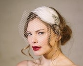 Wedding headband - 'Ava' feather vintage style bridal headband