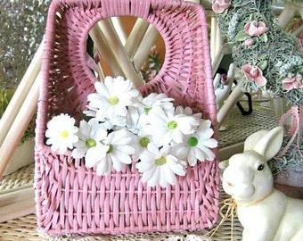 Wicker Basket Shabby Chic Basket Pink Basket Woven Basket Hanging Basket Decorative Basket Wall Pocket Flower Basket Floral Basket Feminine