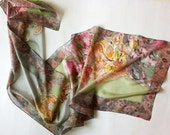 Hand painted silk scarf - tulips scarf - grey hand painted scarf with pink tulips on it - floral motive on scarf - mother scarf - 18x72 inch