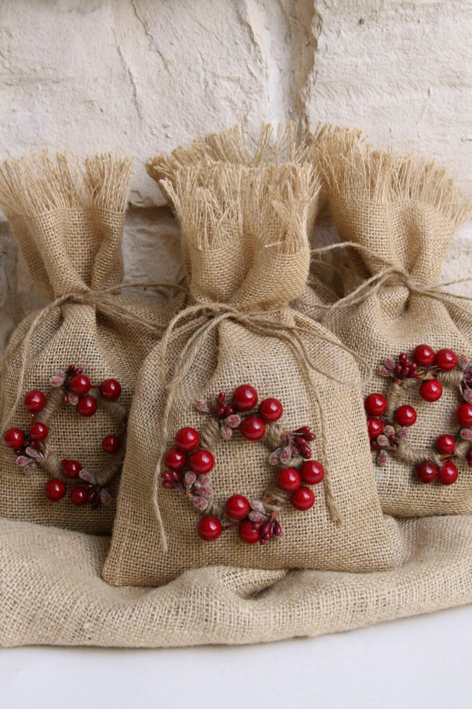 Burlap gift bags set of four shabby chic christmas by - Navidad shabby chic ...