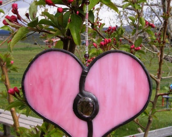 Stained Glass Heart Suncatcher - Pretty Pink Glass with Purple Gem and Beaded Strand - Handmade Artisan Gift