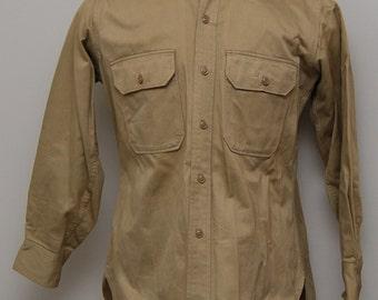 Men's Marine khaki button up work shirt/ Marine khaki work shirt