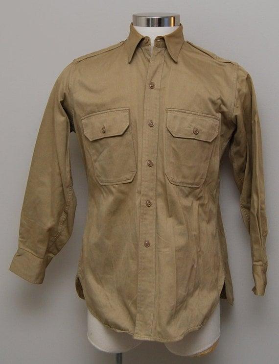 Men 39 S Marine Khaki Button Up Work Shirt Marine Khaki Work