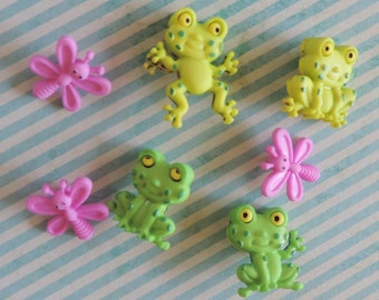 """Frog & Bug Buttons, Packaged Novelty Button Assortment Pack """"Happy Frogs"""" by Dress It Up, Shank Back Buttons, Sewing, Crafting Buttons"""