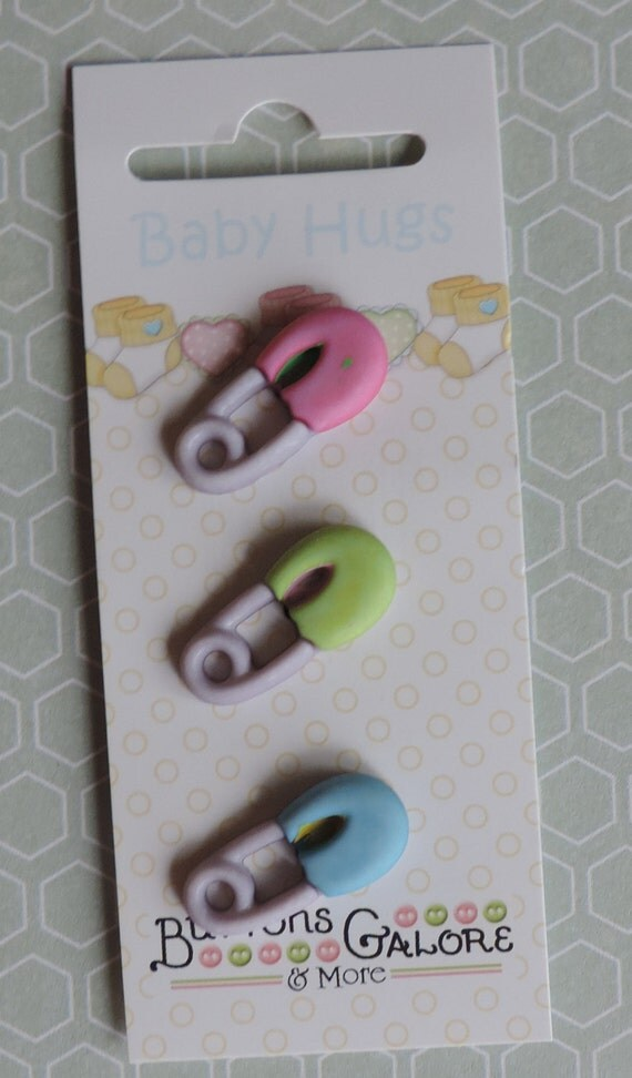 Baby Buttons Diaper Pins by Buttons Galore Baby Hugs Collection Carded set of 3