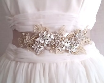 60% off - CLEARANCE - Beaded Bridal Sash - ICED CHAMPAGNE Lace and Flowers with Crystal and Pearls