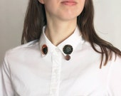 Cosmic Collar Brooch, Half Moon Pin, Night star Jewelry, Black Orange Sequins, Circle Felt Embroidery, Shirt Accessory, sparkle astronomy