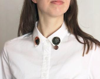 Cosmic Collar Brooch, Half Moon Pin, Night star Jewelry, Black Orange Sequins, Circle Felt Embroidery, Shirt Accessory, sparkle astronomy