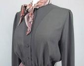 Vintage Herman Marcus Black and Paisley Long Sleeve Secretary Dress Size Medium