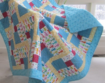 """Patchwork Quilt """"Calico Cats"""" Fun Cat Lover's Quilt, Bed Throw, Handmade Quiltsy"""