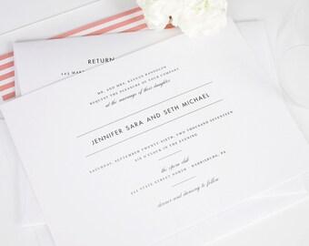Coral Wedding Invitation, Modern Wedding Invitation, Pink, Modern, Stripes, Chic, Romantic  - Modern Romance Wedding Invitation - Sample Set