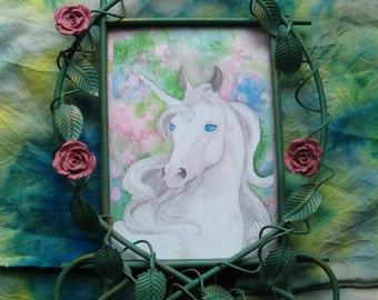 ROSE UNICORN Framed Art Print - Beautiful Pale Unicorn in Ornate Metal Frame, 8 by 11 Inches, Pastel Colors, Unicorns, Fantasy Horse, Horses